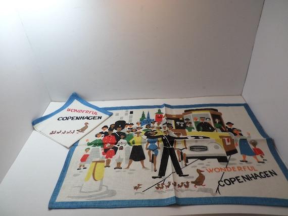 Vintage Wonderful Copenhagen linen placemat & napkin single setting souvenir