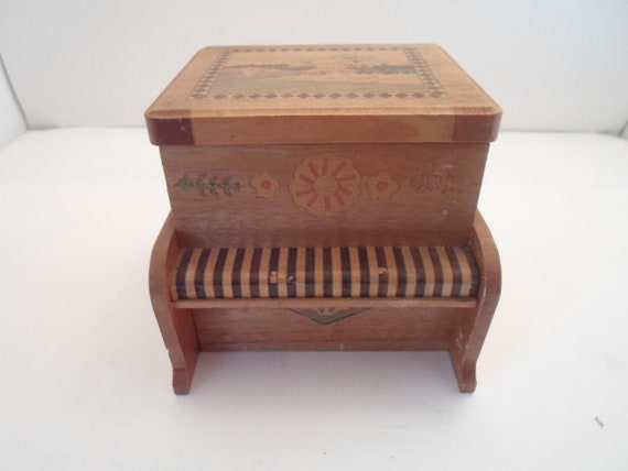 Antique Inlaid Musical Wood Puzzle Box or Secret Drawer box Piano shape Opens with sound Minature Piano or Organ Shape