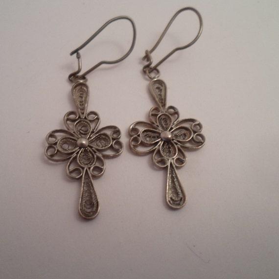 Vintage Silver Wire Art Earrings Made in Spain Pierced Adorable Delicate