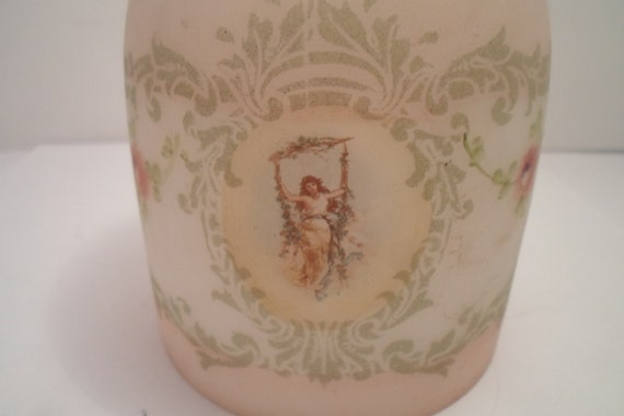 """Antique Art Nouveau Lady in Swing Glass Lamp Shade Roses Vines Victorian Woman Cottage Chic Rare Design 5.25""""long 4""""wide"""