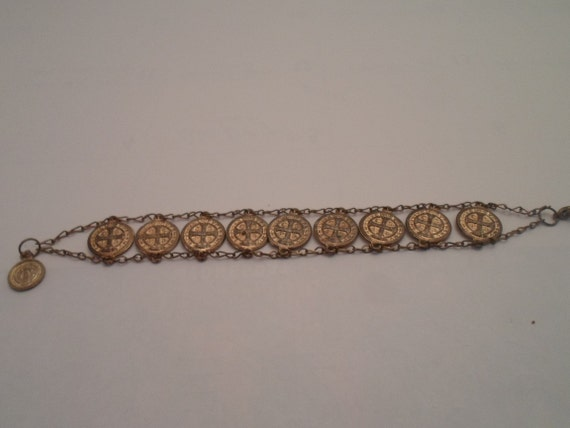 Vintage Gold Dipped Mini Saint Benedict Medal Coin Bracelet Breath to God Dispel Chaos Protection from Evil
