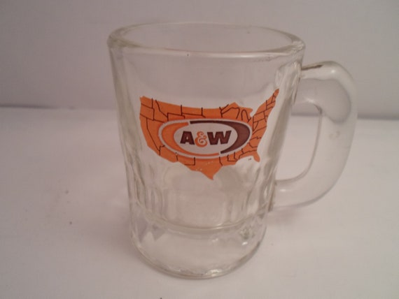"Antique Vintage 1950's heavy Child A W Root Beer 3"" Glass Mug Grandchild Child Gift Drinking glass mug Kids"