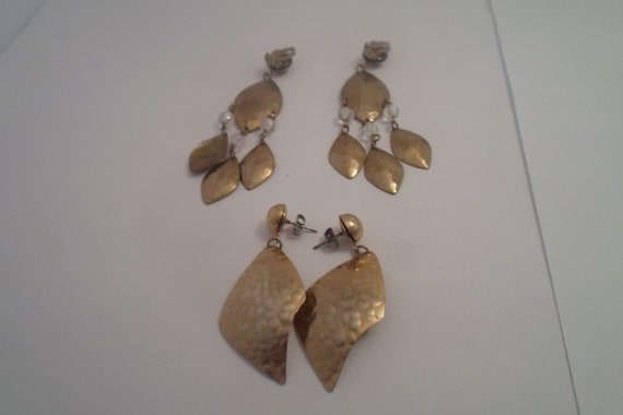 Vintage 1980's 2 Pair of Hammered Brass Lure Earrings 1 clip 1 Pierced Defined Era Chic Dance Club Flickering Gold