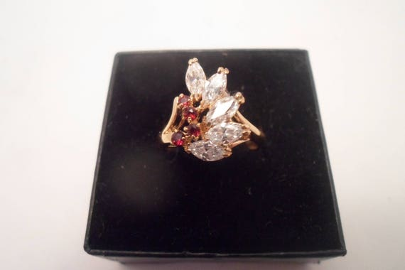 Vintage 70's Gold Plated Garnet & Zircon Cocktail Bling Ring Indiana Estate Find