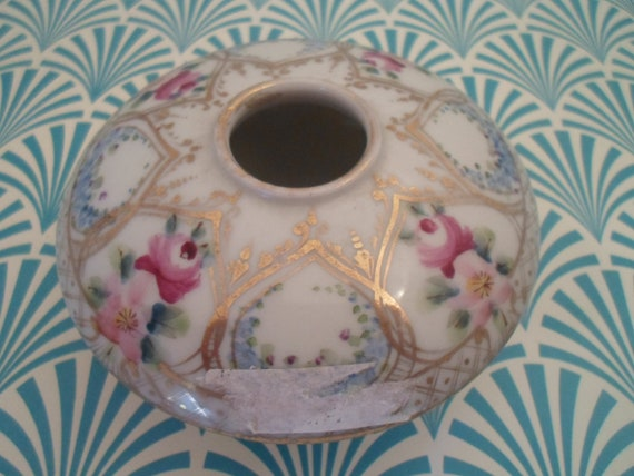 Antique Nippon Hand painted Vanity Jar Victorian Hair Receiver Delicate Florals Gold leaf trim as found