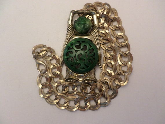 Vintage 60's Gold Crown Inc necklace laughing Buddah faux Jade