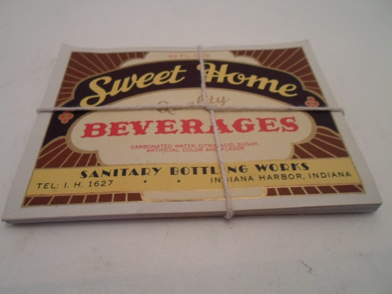 Antique Vintage Sweet Home Beverages Labels Sanitary Bottling Works Indiana Harbor Indiana 10 Count Great for home brewing