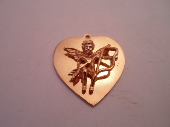 Vintage Cupid Heart Charm Pendant Cupid Drawing Back Bow Full Figured Cherub applied to Heart Adorable Love Symbol