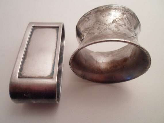 2 Silver Antique Napkin Rings 1 Victorian 1 Art Deco  Farm to Table Dinner Party