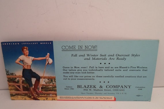 Vintage Advertising Ink Blotter Pin Up Model Betty Hapworth 1950's Blazek Co. Chicago Columbus Great Gift Garnening Gal