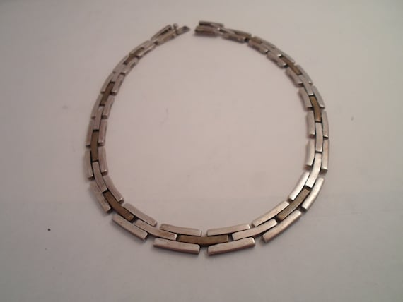 Vintage Original Bar Lock Link Hand Made Necklace Absolute Intricate Work Industrial  Sterling Mexico 925 TA 85