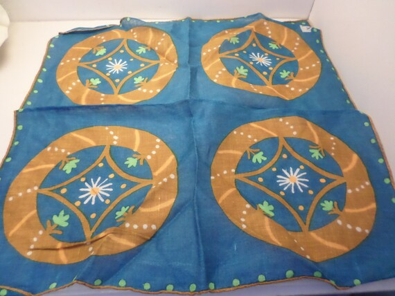 vintage 50's linen handkerchief Shelly daisy daisies teal blue