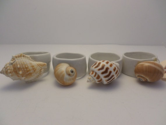 4 vintage souvenir shells from the beach napkin rings clambake beach party