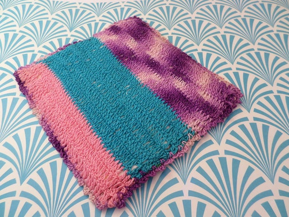 Vintage 60's handmade crochet potholder coaster turquoise green pink purple