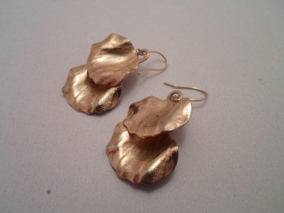 Vintage Gold Dipped Petal Leaves Pierced Earrings Art Museum Purchase 1980's Beautiful Organic Design