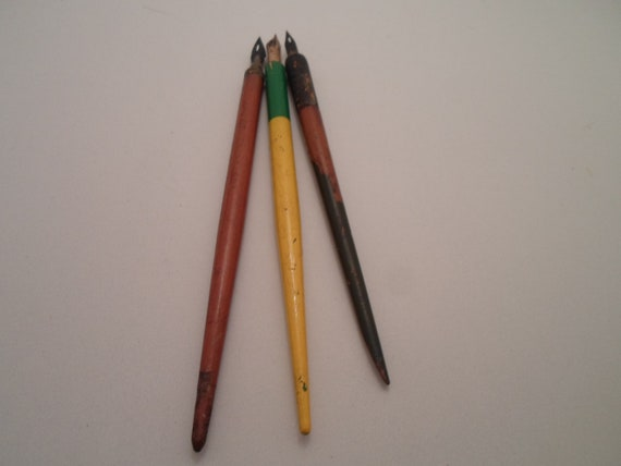 Antique Vintage 3 Inkwell Wood Pens Dip Pens Desk Top Collectible or use Decorator Cool Desk Top Savy