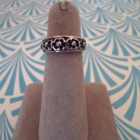 Vintage Sterling Silver Toe Ring Decorative Carved Top 1990's