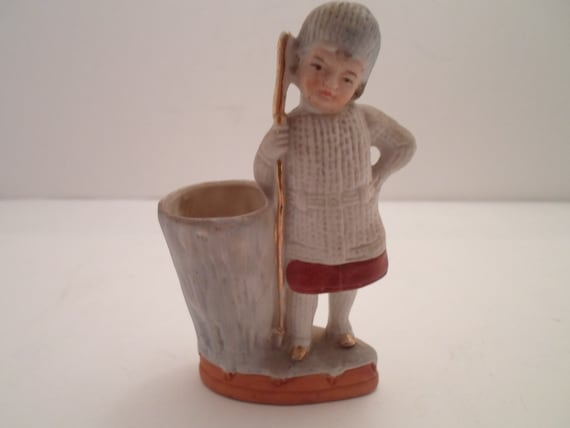 Antique Victorian Bisque Shepherd Boy holding Staff Posy Holder Match Holder  hand painted adorable Tree Trunk vase