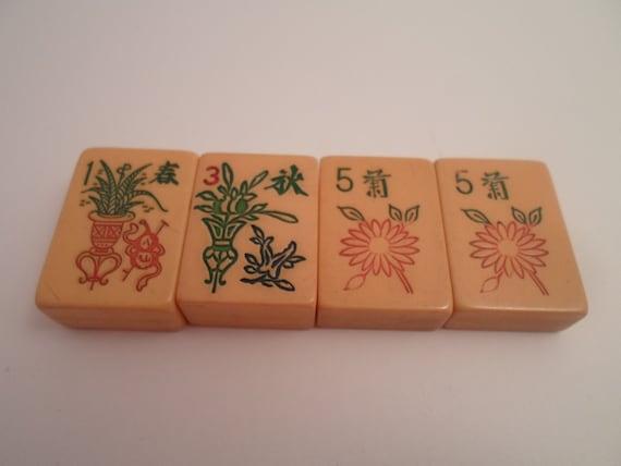 Vintage Bakelite Mahjong Butterscotch 4 Botanical Game Tiles Ferns Pots Sunflower
