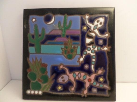 Vintage 90's tile trivet cobalt blue cactus & lizards Masterworks handcrafted art tiles made in the USA