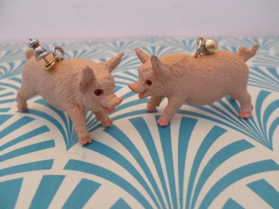 """1994 Safari Pig plastic animal 2"""" earrings bacon, Halloween Fun"""