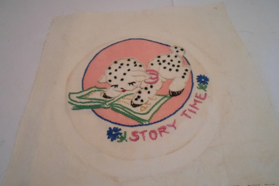 "Antique Vintage Quilt Square 9"" x 9"" Cotton Embroidered Story Time Lamb Ready to Quilt or Frame Cottage or Farm House Chic"