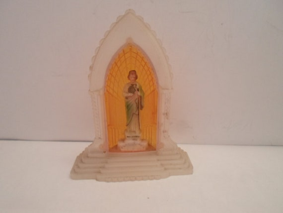 Vintage Miniature  Mid Century Small Art Deco Design Shrine of Saint Jude Catholic Icon Spiritual Patron Cancer Saint Catholic