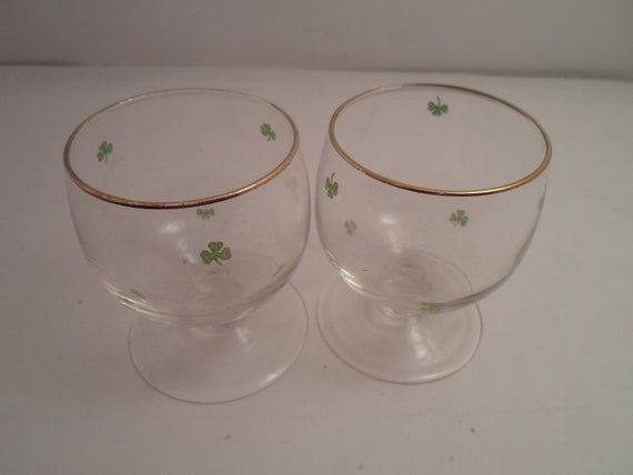 Vintage Antique 2 Painted Shamrock Gold Leaf short Brandy Cordial Sherry Wine Glasses St. Patrick Day Irish Birthday Toast Bar item