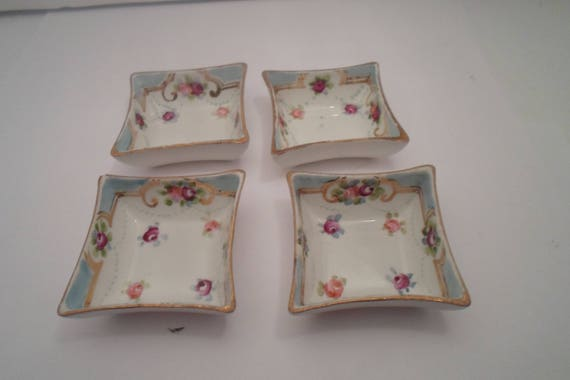 Antique Hand Painted Nippon 4 Mini Tray Salt Dips Condiments Jewelry Cups Delicate Flowers Gold Leaf Farm house Cottage Chic