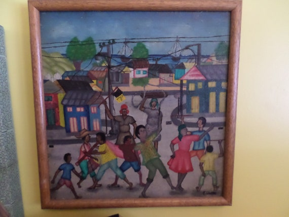 Vintage Gerard oil painting Haiti 1980 framed colorful children
