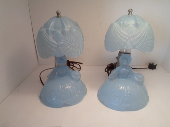 Art Deco Pair Southern Belle Women Boudior Lamps Shell Umbrella Shade Satin Frosted Glass original Working Cottage Shabby Ready