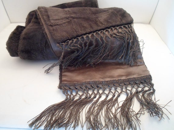 """Antique Art Deco Long Wrap Scarf with hand tied Fringe Long napped Velvet Wonderful Grey Color 95"""" long hard to find"""