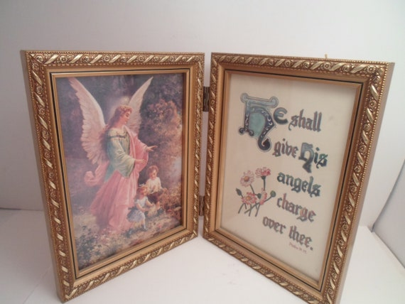 Vintage Guardian Angel Print with Psalm Double sided Gold Leaf Frame Adorable Heartfelt Beautiful