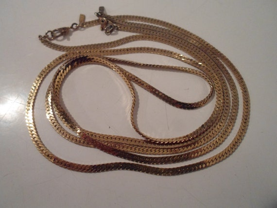 "Vintage 2 Layering Monet 80's Gold Necklaces  24"" and 20"" Beautiful Patina Marked with tag"