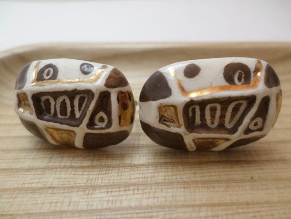 MCM vintage 50's Milvern type pottery earrings screwback abstract