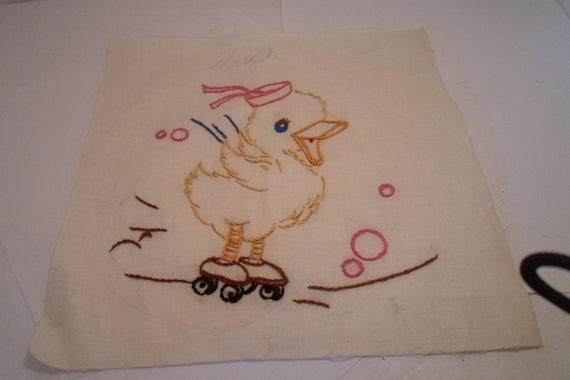 "Antique Vintage 1940's Cotton Embroidered Quilt Square Baby Duck in Sailor Hat on Roller Skates Ready Quilt/Frame 9""x 9"" Cottage Farm house"