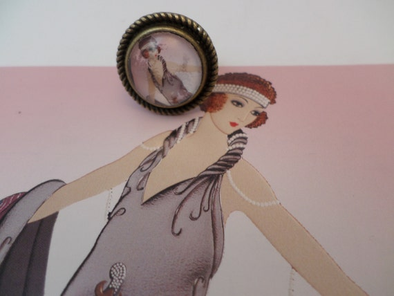Hand Made Erte' Deco art Gala brass ring adjustable art deco early Flapper unique chic retro 20's