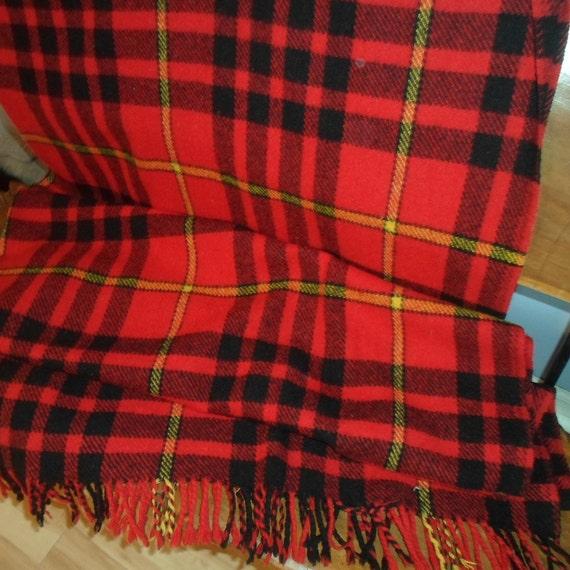 Vintage Wool Blanket Made in Scotland Stewart Allan Very Cool Plaid