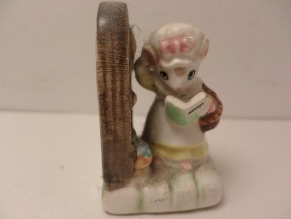 "Vintage 80's AVON mouse selling cosmetics 2"" figurine small treasures JAPAN"