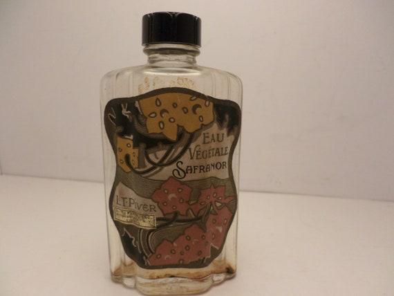 Antique early Art Deco L T Piver NY Eau Safranor 4 ounce bottle perfume