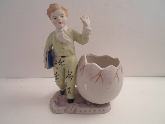 Antique Vintage Occupied Japan Paulux Bisque Hand Painted Figure of Boy holding Books Open Cracked Egg Vase Cottage Chic School boy