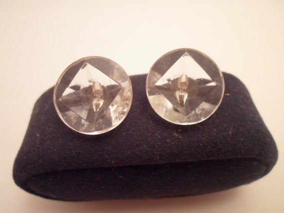 2 Antique Art Deco Original Crystal Glass Buttons Square within Circle Molded shank Rare Unusual Deep