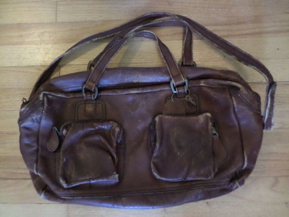 large vintage duffle bag all brown leather heavy duty zipper