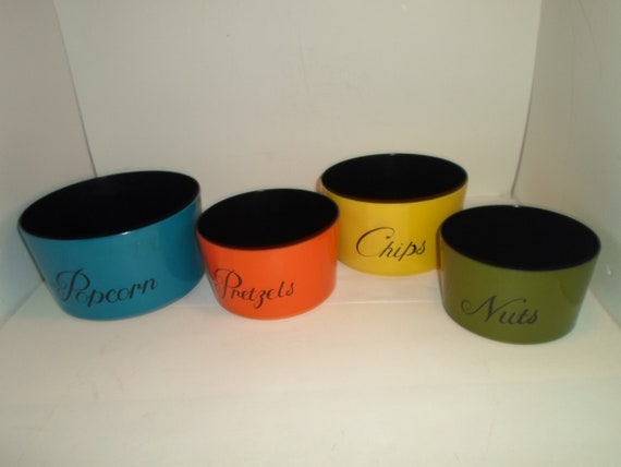 Vintage Mid Century Stacking Bowl Set for Snacks Popcorn Chips Nuts Pretzels Great Colors City Chic
