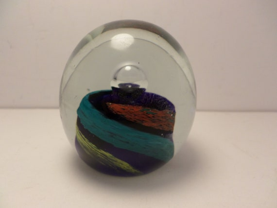 Spiral color paperweight artglass vintage 70's