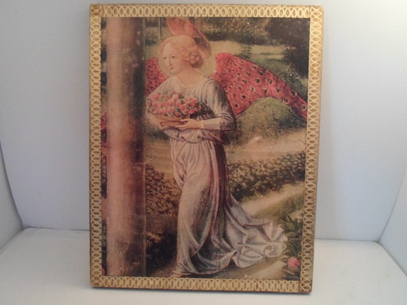 Vintage Spiritual Angel Print on Wood Gold Leaf Made in Italy Fantastic colors Beautiful Renaissance Winged Lady Cottage Ready Carved Edges