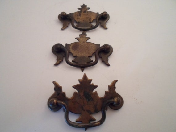 Vintage Chippendale Brass Drawer Pulls Quality Design All 3 for 1 price Designer Chic Scaled Down Size Re Decorate Chest Dresser Cottage