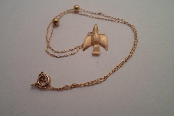 Vintage Delicate Goldtone Soaring Upward Swallow Bird Pendant and Chain Spiritual Encouragement Stunning