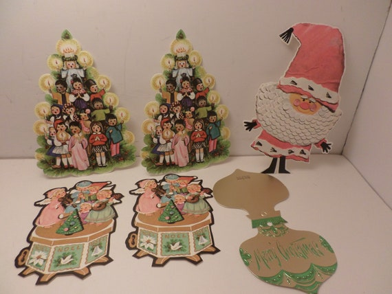 6 pc Vintage 60's cardstock Christmas tags gift box adornment
