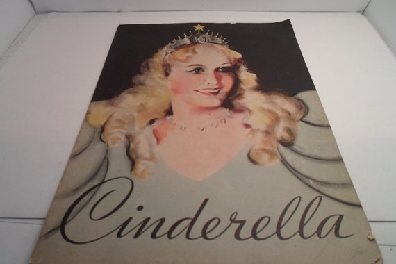 "Art Deco Original 1935 Cinderella Large Paperback Book Whitman Publishing co. Stunning Deco Bennett Illustrations 13"" x9"""